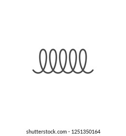 Spiral vector icon, swirl line outline simple style isolated. Metal spiral flexible wire elastic.
