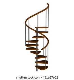 Spiral wooden staircase with a fence.  Modern conceptual stairs 3d isolated. Furniture for Interior.  Vector illustration on a white background.