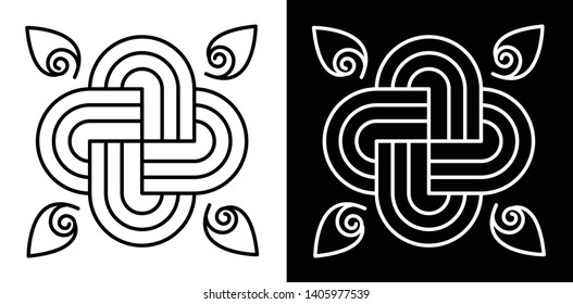 Spirals and Curved Lines Merged with each other - Indian Traditional and Cultural Rangoli, Alpona, Kolam or Paisley vector line art with dark and white background