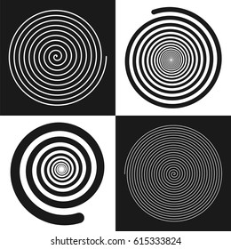 Spirals set: uniform and decreases towards the center. Vector illustrations. Black and white isolated geometric figures. Symbol of recurrence and cyclicity of progress.