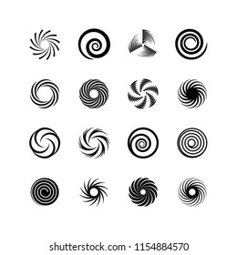 Spirals and swirls. Whirlpool and twirl. Abstract motion twisting circles isolated vector icons. Motion twirl, spiral and twist, whirlpool and swirl illustration