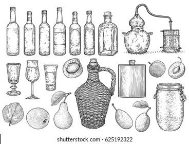 Spirit, alcohol, palinka stuff illustration, drawing, engraving, ink, line art, vector
