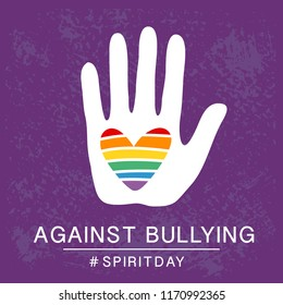 Spirit day violet, purple color poster, with rainbow heart in hand. Against bullying. LGBT rights concept. Homosexuality, equality, transgender, gay, lesbian support emblem. Tee shirt vector design.