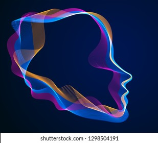 Spirit of digital electronic time, Artificial Intelligence vector illustration of human head made of dotted particles wave lines, particle flow, technological soul of machine.