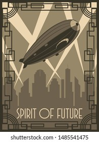 Spirit of Future Zeppelin Poster Art Deco Style
