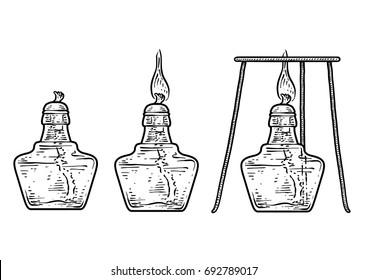 Spirit lamp illustration, drawing, engraving, ink, line art, vector