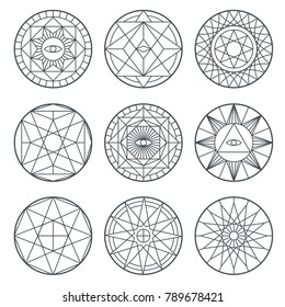 Spiritual alchemy vector symbols. Medieval geometry sacred vector logos. Mystic geometry religion sing collection illustration