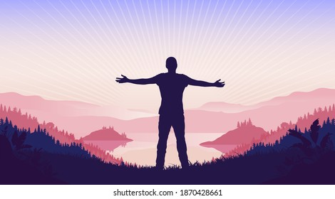 Spiritual growth - Man standing in landscape with sun and god rays, having a soul seeking moment. Spirituality concept. Vector illustration.