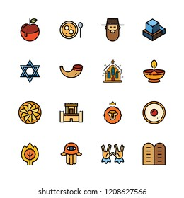 spiritual icon set. vector set about church, kabbalah and hebrew icons set.