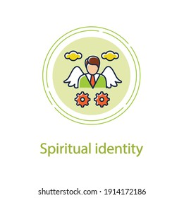 Spiritual identity concept line icon. Personal growth concept. Self identity. Meaning and ultimate existence purpose . Growth plan. Vector isolated conception metaphor illustration