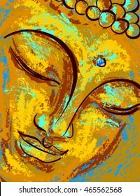 Spiritual portrait of Buddha. Vector illustration, imitation of oil paint or pastel.