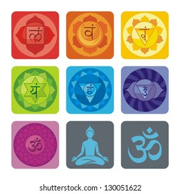 Spiritual set with chakras and yoga icons