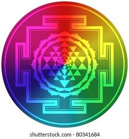 Spiritual Sri Yantra - Rainbow Design