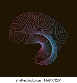 Spirograph abstract element on a black background.