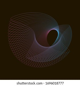 Spirograph abstract element on a black background