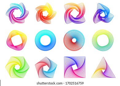 Spirograph patterns set. Twisted lines abstract shapes. Guilloche frames for certificate, diploma, money, official documents watermarks.  Guilloche pattern, intricacy line elements, spirograph shapes