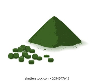Spirulina, chlorophyll, or chlorella powder and tablets isolated on white background. Flat vector illustration