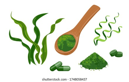 Spirulina set of vector illustrations. Wooden spoon with spirulina powder, seaweed pills isolated on white background. Dietary supplement in cartoon flat style.