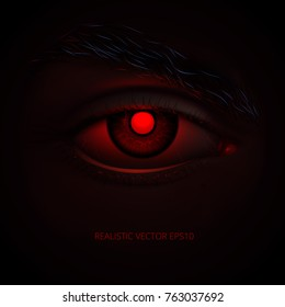 Spiteful Demon's look. Red realistic angry eye of a mysterious Hell monster or futuristic cyborg. Hypnotic sizzling glance with a scorching heat. Paralyzing iris of a vampire. Stunning horror poster.