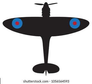 A spitfire plane silhouette isolated on a white background