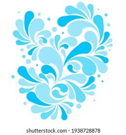 Splash of blue water drops, nature splash pattern. Isolated aqua decoration vector design.