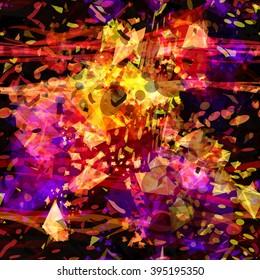 Splash. Bubbles, wavy lines, triangular elements are mixed randomly. Abstract seamless vector pattern.
