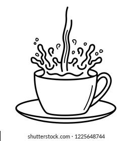 Splash In Coffee Cup. Vector flat outline icon illustration isolated on white background.