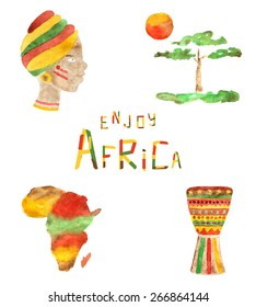 Splash of colors in watercolor african icons, woman, tree, sun, continent, drum and funny font