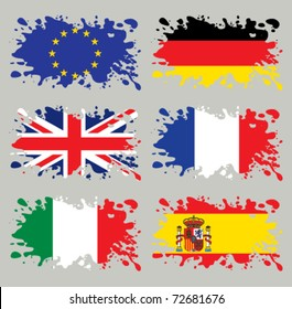 Splash flags set Europe. Each in separated layer, easy to use, without gradients and transparencies.