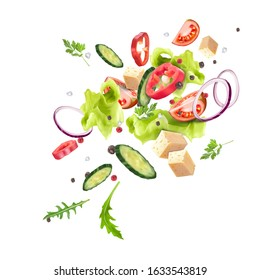 A splash of fresh vegetable salad. Vegetarianism, vitamins, healthy nutrition, diet. Vector 3d realistic dynamic composition isolated on white background.