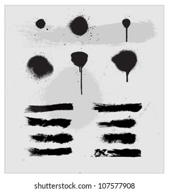 splash and ink vector brush sign set isolated