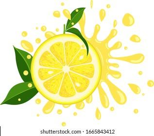 Splash juicy slice of lemon with green leaves