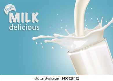 A splash of milk from a glass. Label design idea. Vector realistic illustration on blue background.