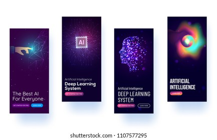 Splash screen mockup for learning AI or UI concept .