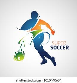 splash silhouette football player soccer