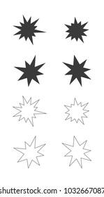 splash star outline icon set