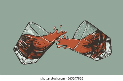 splash of two glasses of whiskey.Retro style. Vector illustration of alcohol drink