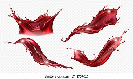 Splash of wine or red juice isolated on transparent background. Vector realistic set of liquid waves of falling and flowing clear fruit drink, strawberry, grape or cherry juice