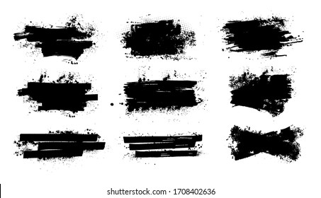 Splashes banners grunge for you design. Horizontal black splashes with drops blots. Isolated set dirty liquid, high quality manually traced. Vector banners template, dirty texture