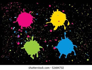 Splashes of colour paints on black background