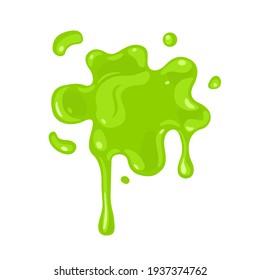 Splashes of green slime isolated on white background. Vector illustration
