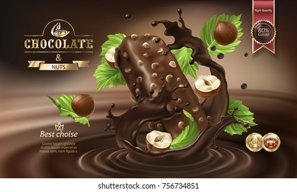 Splashes of melted chocolate with falling chocolate bar and nuts, vector 3D realistic illustration. Mock up advertising poster for promoting elite dark chocolate