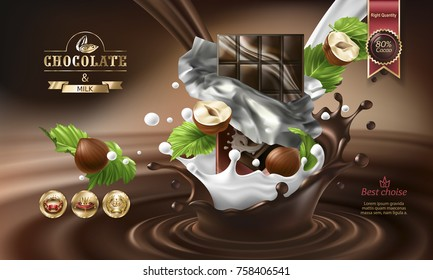 Splashes of melted chocolate and milk with falling chocolate bar in a torn wrapper and nuts, vector 3D realistic illustration. Mock up advertising poster for promoting