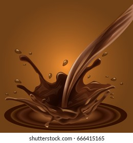 Splashing chocolate liquid for your advertisement background. Vector Illustration