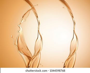 Splashing oil element, golden transparent liquid in 3d illustration