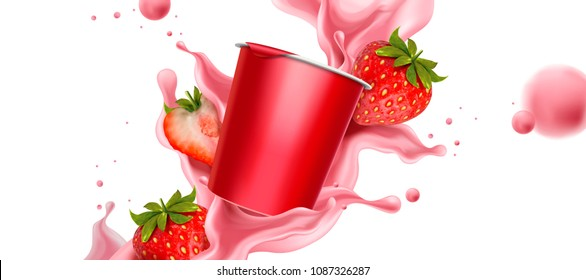 Splashing strawberry yogurt with fresh fruit and cup container in 3d illustration