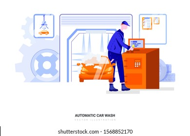 Splashing water in a car wash, Automatic car wash in action. Can use for web banner, infographics, hero images. Flat style color modern vector illustration.