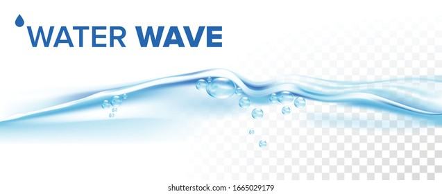 Splashing Water Wave With Blue Air Bubbles Vector. Sea Water Motion, Refresh Crystal Clean Aqua, Transparent Purity Nature Liquid. Stream Concept Template Realistic 3d Illustration