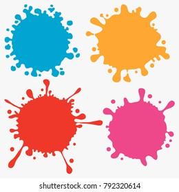 Splats splashes and blobs, paint ink illustration splatter blot. Vector