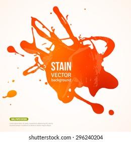 Splatter Paint Banner. Vector Illustration. Orange Background with Acrylic Splash. Ink Spot isolated on white.